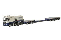 MERCEDES BENZ ACTROS MP4 SLT BIG SPACE 8X4 + SCHEUERLE INTERCOMBI SET NECK WITH COVER + 3 AXLE MODULE + EXTENDABLE NARROW BED + 2 AXLE MODULE + 3 AXLE MODULE + BUMPER UNITS WASEL (арт. 01-2215)