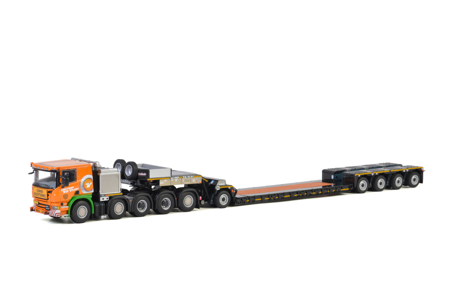 SCANIA P6 FLAT ROOF 10x4 LOWLOADER 4 AXLE + DOLLY 1 AXLE  Holtrop - V.d. Vlist (арт. 01-2704)